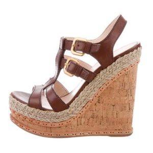 Prada leather wedge sandal